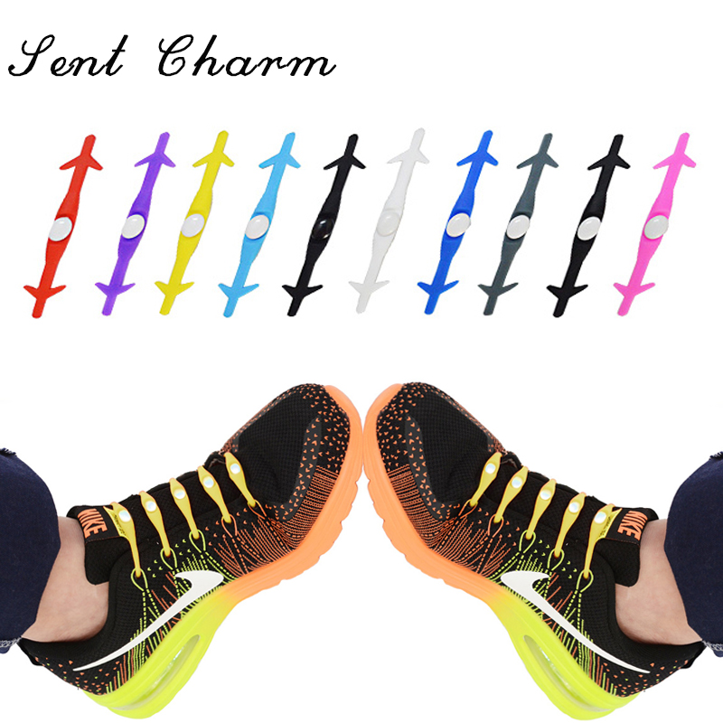 SENTCHARM Elastic Silicone For Men Women Lazy Shoe Lace Creative Shoelaces No Tie Solid Elasticity Fashion Free L008