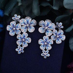 Image 4 - GODKI 48mm Flower Boom Luxury Trendy Full Mirco Paved Cubic Zirconia Naija Wedding Drop Earring Fashion Jewelry