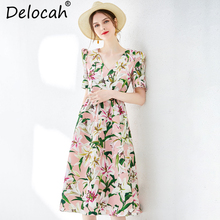 Delocah New Women Spring Summer Vintage Dress Runway Fashion V-Neck Draped Lily Printed Elegant Ladies Suit for Vacation Dresses