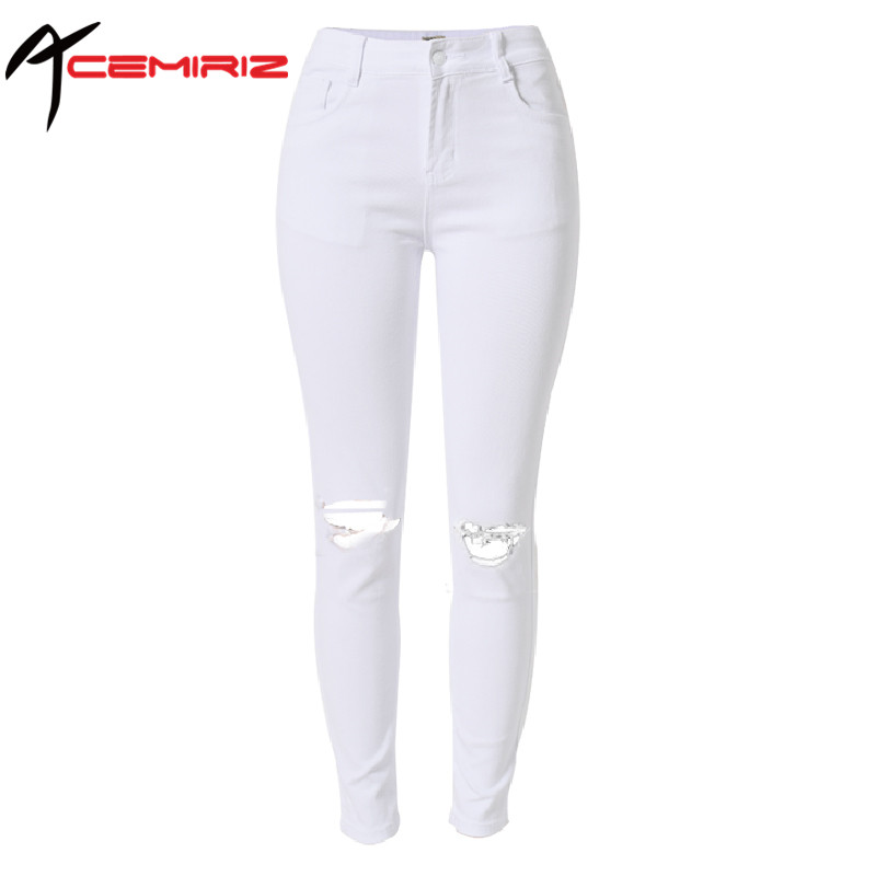 ACEMIRIZ White Torn Jeans High Waist Elastic Cotton Women Ripped Hole Knee Skinny Pencil Pants Slim Plus Size TOP-006#