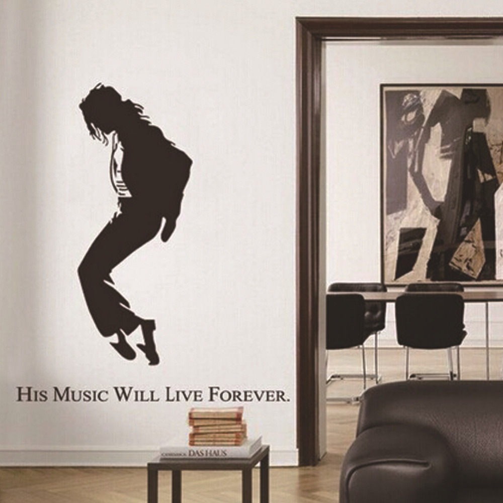 Michael Jackson Por People Wall Stickers For Bedroom Living Room Background Removable Mural Drawings Decals 50 70cm In From Home