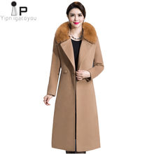 Cashmere Woolen Coat Women Winter New Plus Size Black Warm Double Breasted Fur Collar Long Wool Coat Fashion Female Jacket 4XL(China)