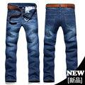 2016 Nueva Llegada Vaqueros Delgados Rectos Hombres Pantalones Vaqueros de Color Oscuro Pantalones Vaqueros Masculinos pantalones Vaqueros de Mezclilla Larga Pantalones Plus Szie Tamaño 44