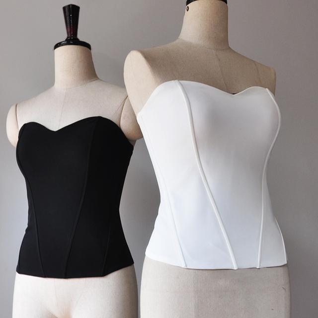 Women Basic Sweetheart neck Boned Corset Fashion Shapewear Zip back Tube Tops Slim fit Strapless Top