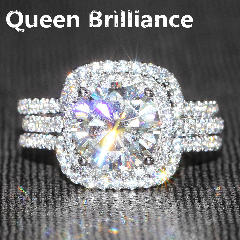 14K 585 White Gold 3ct Center 9mm FGH Color Round Brilliant Lab Grown Moissanite Diamond Engagement Wedding Ring Set for Women 3ct moissanite two tones emgagement ring 14k 585 white gold and yellow gold 9mm diameter f color wedding ring for women