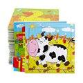 5 unids/lote tarjeta rompecabezas tangram rompecabezas tridimensional de lana Niño infantil del bebé del rompecabezas de inteligencia juguete de madera del rompecabezas