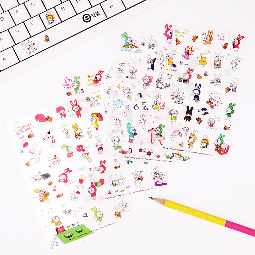 6 Sheets/Set Book Sticker Rabbit Diary Scrapbook Calendar Notebook Label Decoration