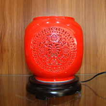 retro table vintage chinese porcelain ceramic table lamp bedroom living room wedding table lamp jingdezhen red