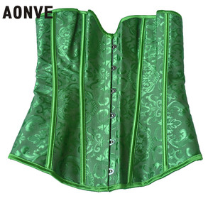 Image 4 - AONVE Corset Sexy Lingerie Brocade Royal Wedding Jarquard Corsets and Bustiers for Women Modeling Strap Sexy Green