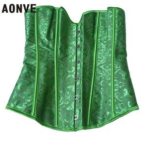 Image 4 - AONVE รัดตัวชุดชั้นในเซ็กซี่ผ้า Royal Wedding Jarquard Corsets และ Bustiers สายรัดเซ็กซี่สีเขียว