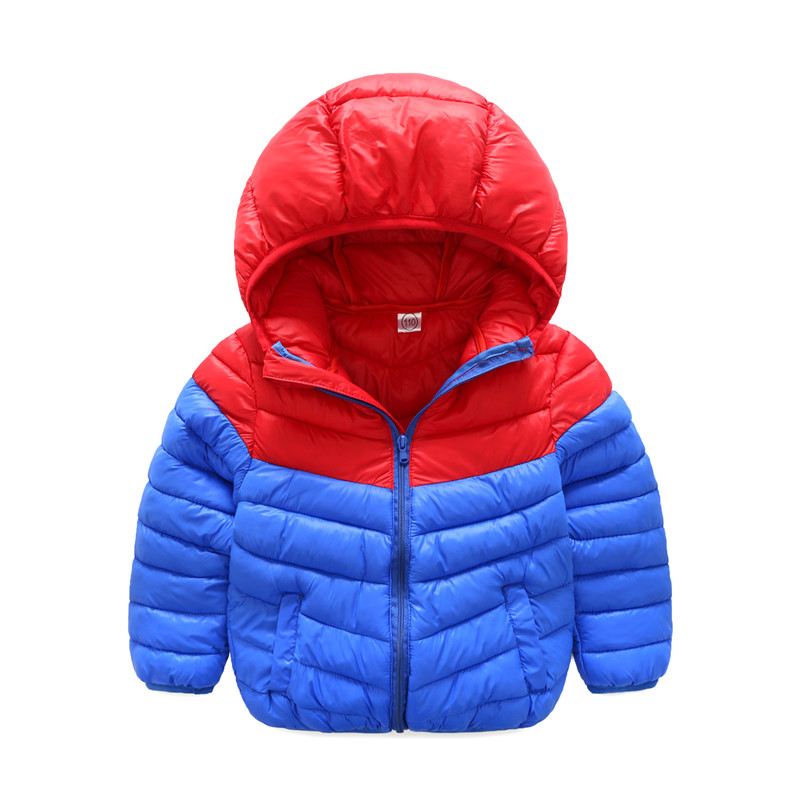 MBBGJOY Kids Winter Jacket Hooded Cotton Coat Hit Color Outwear Children Warm Clothes Zip 2017 Boys Girl Clothing Thin Patchwork 2016 winter children s jacket fashion girls boys cotton hooded coat kids boy jacket warm outwear thin models send pouch 16a12