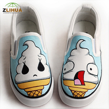 JUP Cartoon Doodle Ice cream Doraemon Totoro Cat Monster Bay max Hand-painted Canvas Shoes for Kids Big Boy Girls Male Child