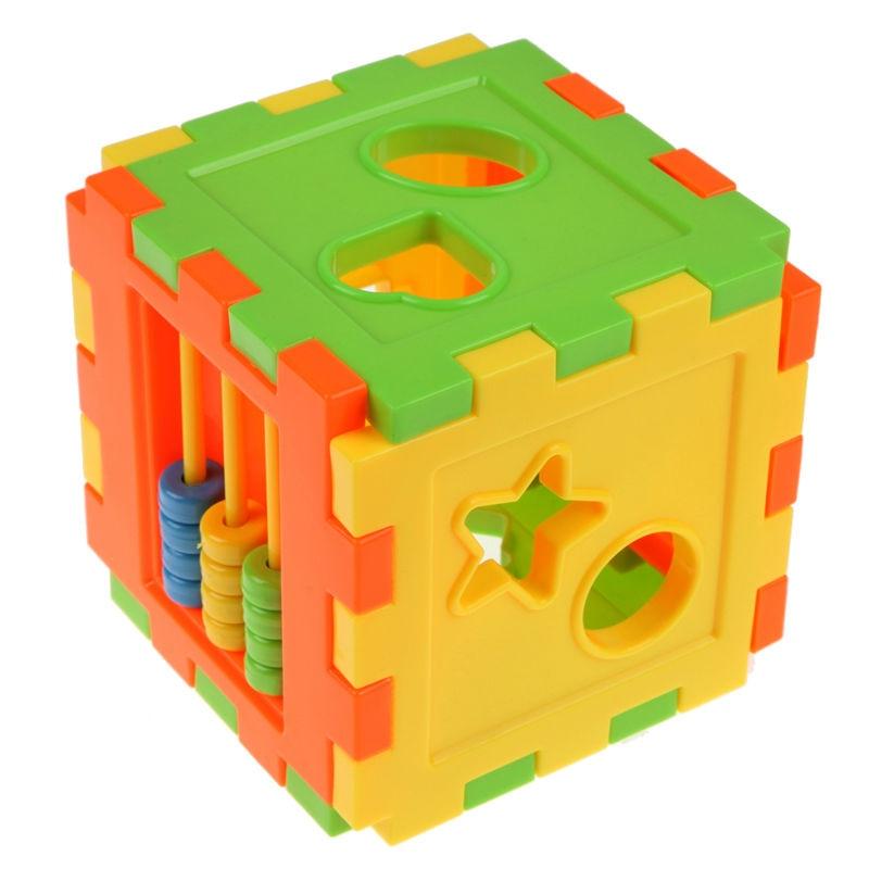1Set Educational Cube Bricks Animal Geometric Shape Matching Blocks Sorting Box Plastic Baby Intelligence Toy Building Blocks