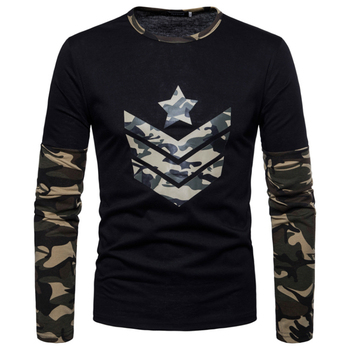 New Arrivals 2018 Men T-shirt summer style men Long sleeve T-Shirt fashion slim camo color decoration Men O-neck t-shirt Casual