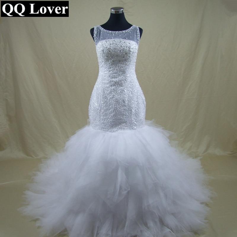 QQ Lover New African Beaded Big Train Mermaid font b Wedding b font Dress font b