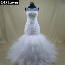 QQ Lover New African Beaded Big Train Mermaid Wedding Dress Bridal Gown Vestido De Noiva