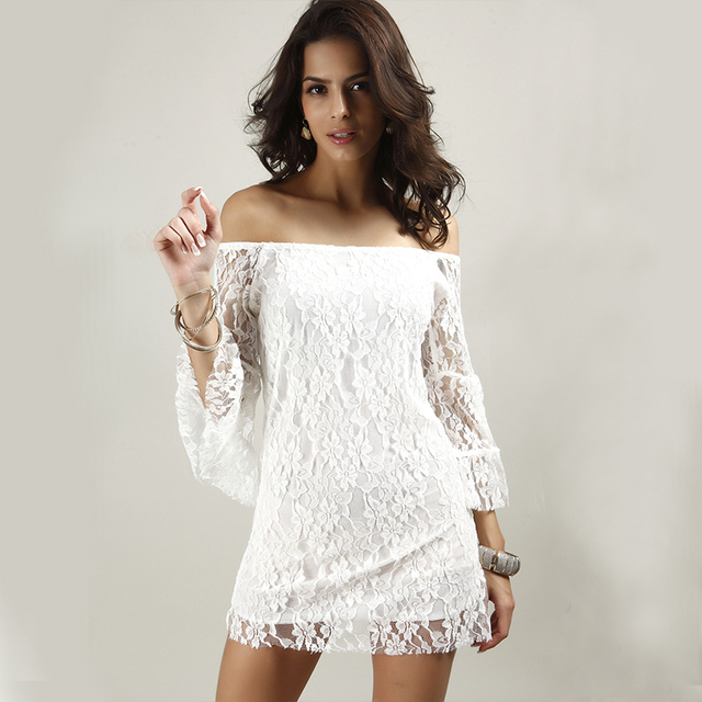 e34f167136ff Short White Lace Dress Black Mini Fashion Ladies Summer Dress 2015 New  Crochet Mesh Sexy Short White Lace Dresses LS12