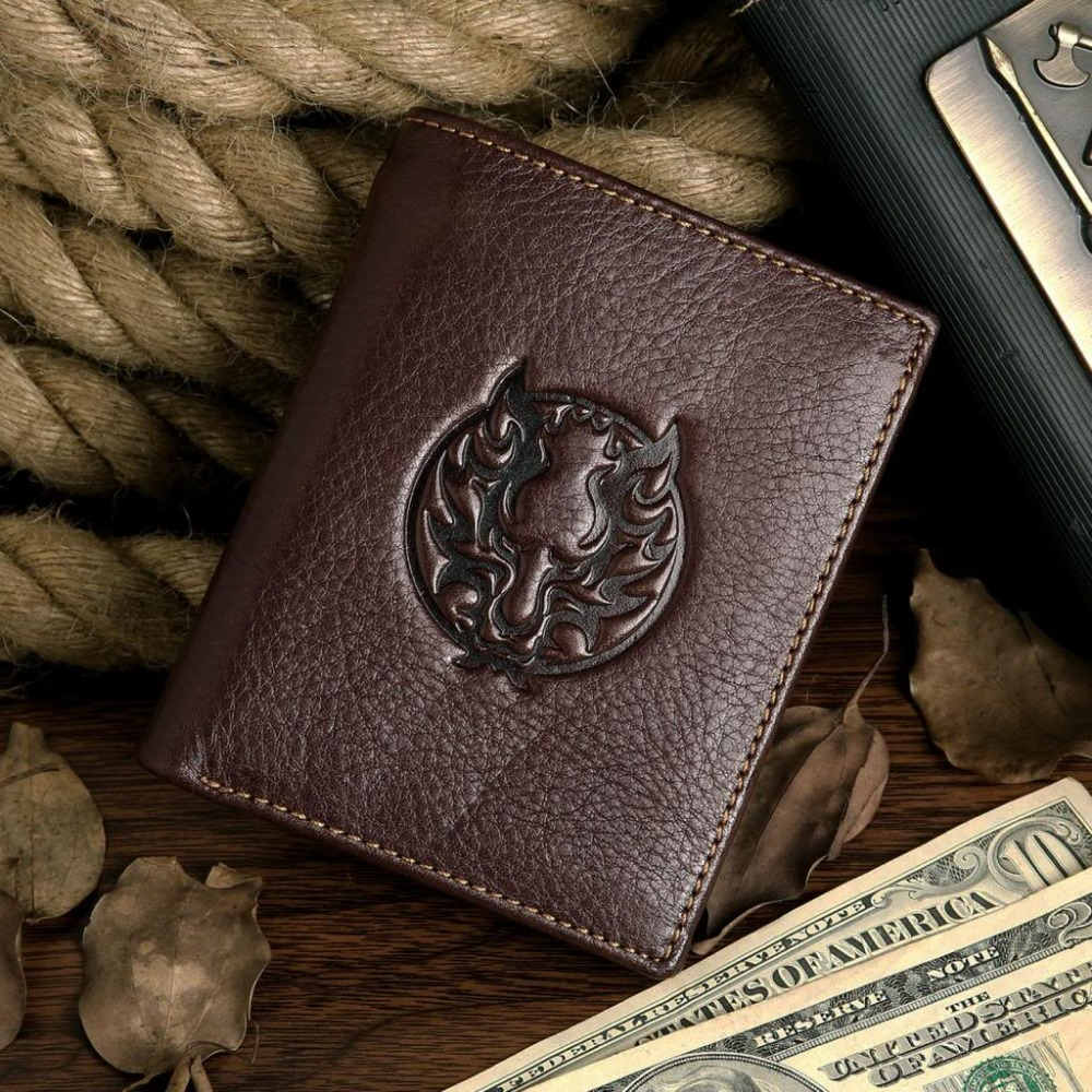 Vintage Casual 100 Real Genuine Cowhide Oil Wax Leather Men Wallets Coffee Short Bifold Male Purses