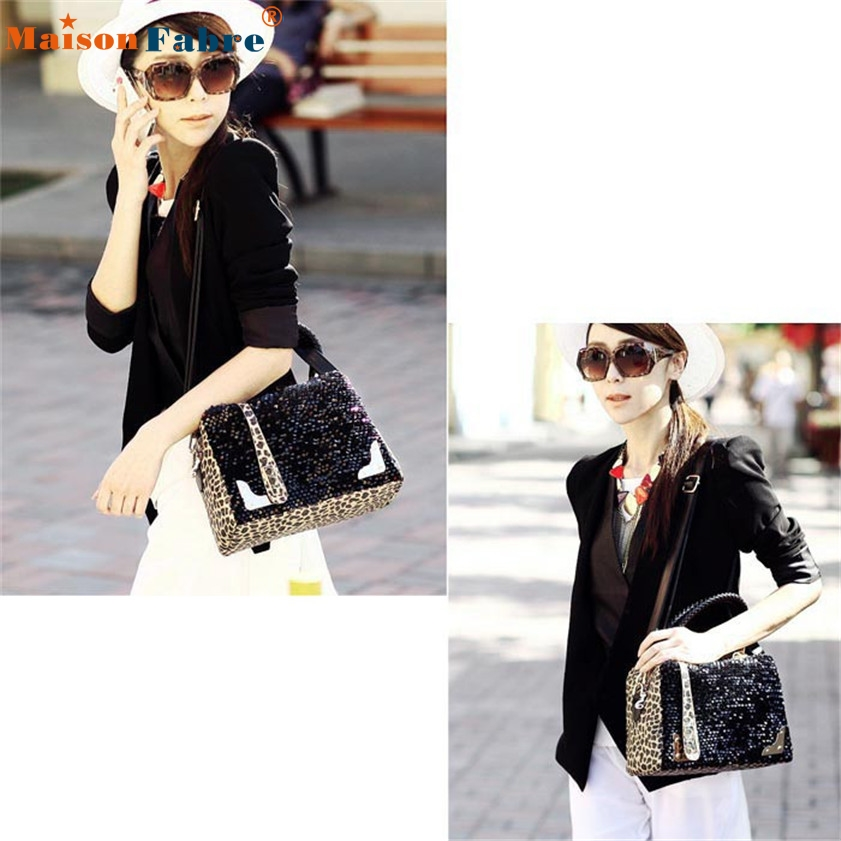 High quality Women Sequin Leopard Messenger Cross Shoulder Bag Handbag