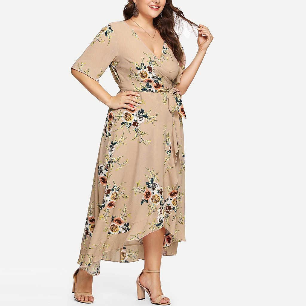 2019 _ _ _ _ _ _ _ _ _ _ _ _ _ _ _ _ _ _ _ _ ผู้หญิงลำลองแขนสั้น V คอ Boho ดอกไม้ Party ชุด Maxi Plus ขนาดเย็นและสดชื่นฤดูร้อนชุด