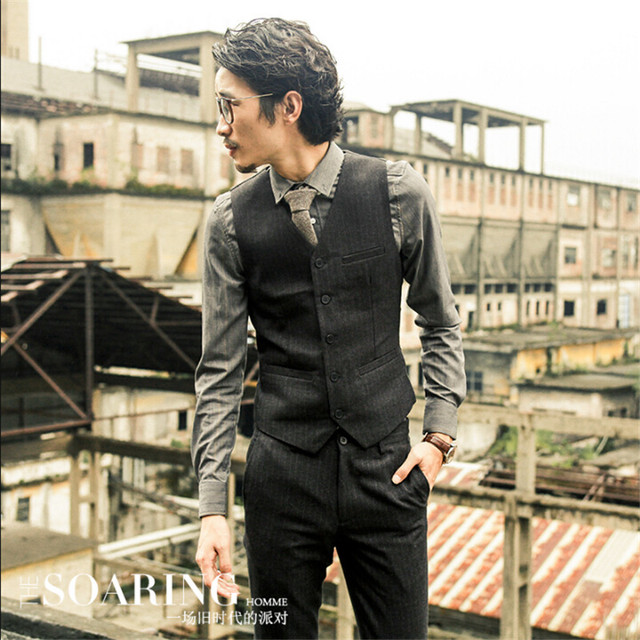 Inglaterra estilo de los hombres traje de chaleco rayado negro único breasted sin mangas escudo hombre moda vintage marca ropa de hombre a2915