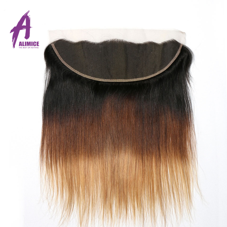 Ombre Peruvian Straight Lace Frontal 3 Tones T1B427 Human Hair Closure With Baby Hair T1B430 Non Remy 8-24inch Alimice  (8)