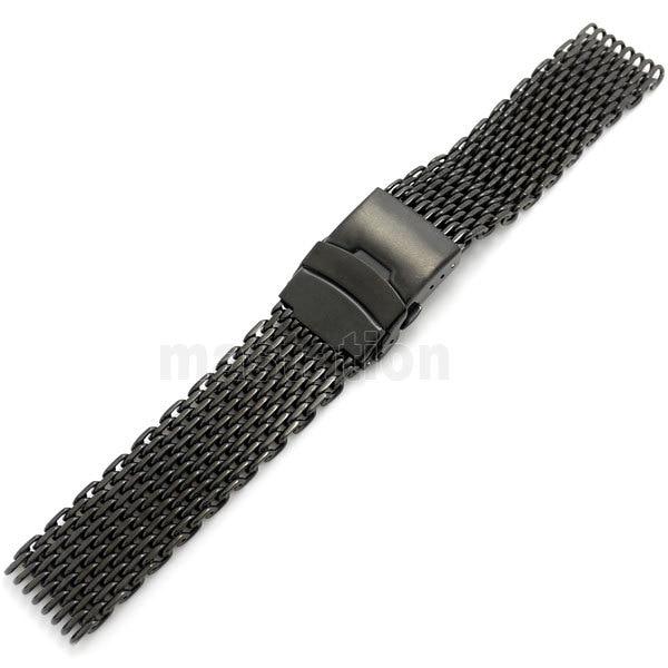 Nero 22mm Larghezza di Banda Maglia Web Da Polso Watch Band Strap braccialetto Delle Donne Degli Uomini chiusura Pieghevole con sicurezza e spingere pulsante