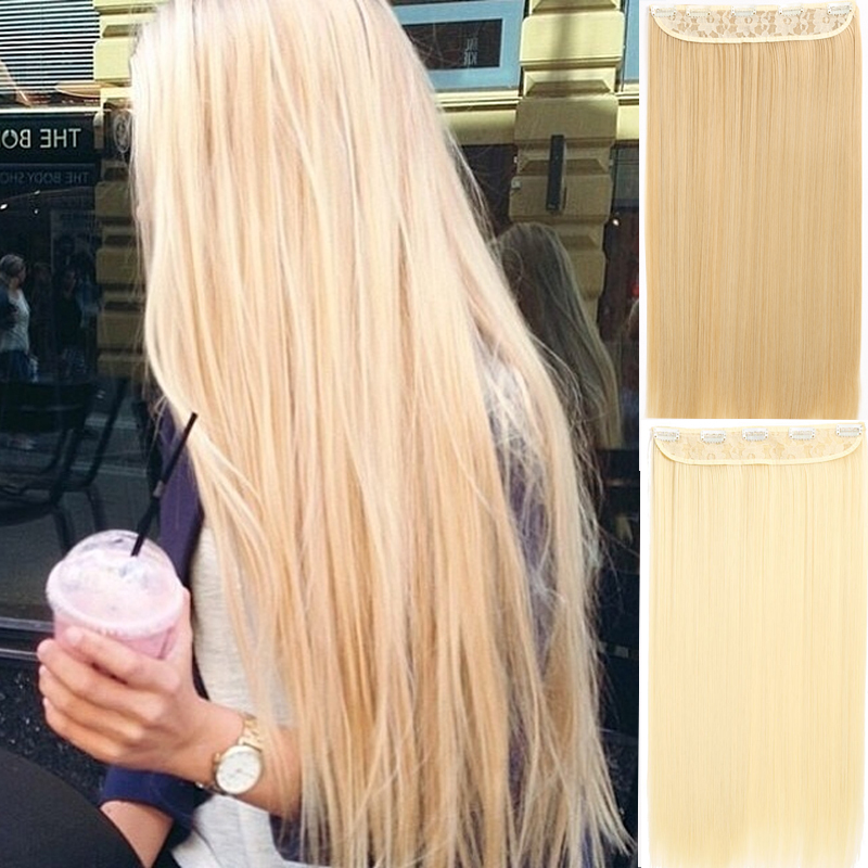 MISS WIG 22Inch Long Straight Synthetic Clip in Hair Extension Heat Resistant 5 Clip Hairpiece Black Blonde Brown Synthetic Hair