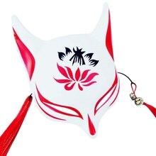 Маска лисы, ручная роспись, японская маска, половина лица, ПВХ, маска лисы, маскарадный фестиваль, мяч, кабуки, Kitsune, маски, косплей, костюм