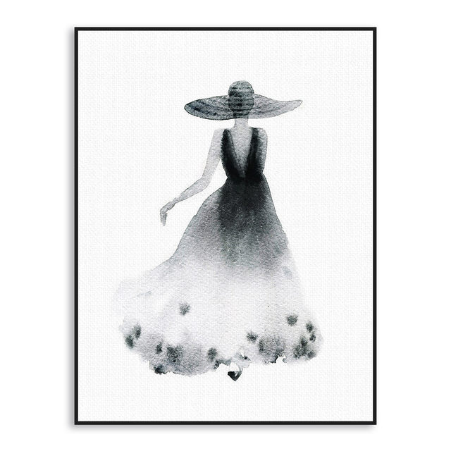 Nordic black white fashion lady painting canvas art print poster wall picture painting beauty girl room home decor no frame