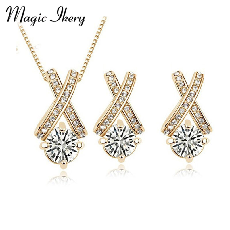 Magic Ikery Gold Color Zircon Crystal Cross Round Jewelry Sets Wholesales Fashion for women MKZ1116