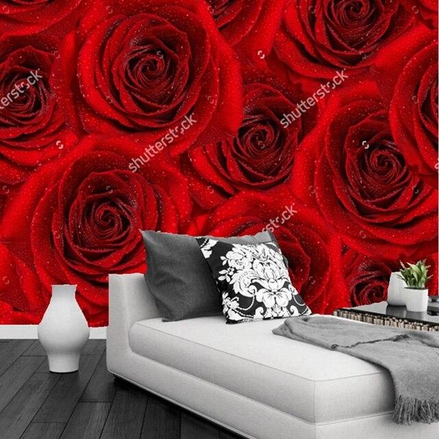 Buy custom floral wallpaper red rose 3d for Red flower wallpaper living room