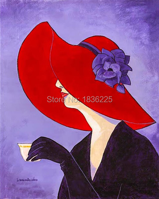 Hand Painted Sexy Lady With Red Hat hold a coffe Abstract Modern Large Oil Painting On Canvas Woman Picture Wall Art Home Decor ...