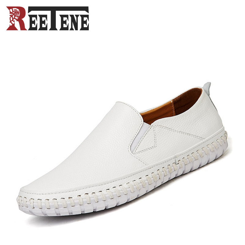 2017 New Men Genuine Leather Casual White Shoes Slip On Easy Walking Loafers Breathable Men's Driving Shoes Comfortable Flats fashion nature leather men casual shoes light breathable flats shoes slip on walking driving loafers zapatos hombre