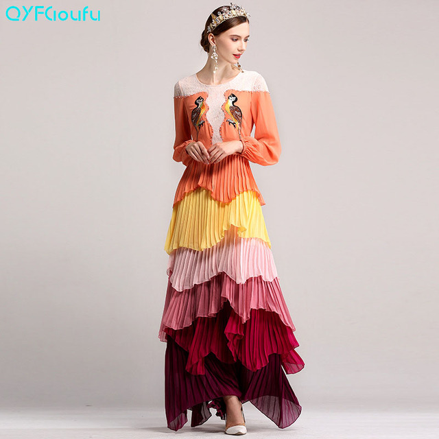382c3ad288b00 US $81.43 15% OFF|QYFCIOUFU High Quality Runway Women's Maxi Dresses Long  Sleeve Autumn Fashion Designers Tiered Embroidered Formal Dresses-in  Dresses ...