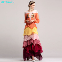 QYFCIOUFU High Quality Runway Women's Maxi Dresses Long Sleeve Autumn Fashion Designers Tiered Embroidered Formal Dresses