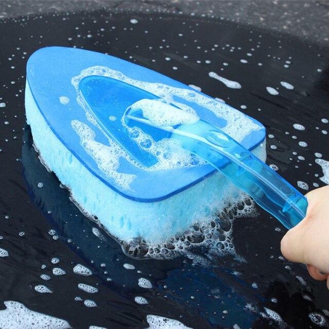Cepillo de lavado de coches herramienta de cuidado de limpieza mango largo ventana esponja triangular detallado de coches rueda cepillo 2019 gran oferta
