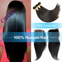 8A Brazilian Virgin Hair With Closure 4*4 Silk Base Closure with 4 Bundles Peruvian Straight Human Weave With Closure