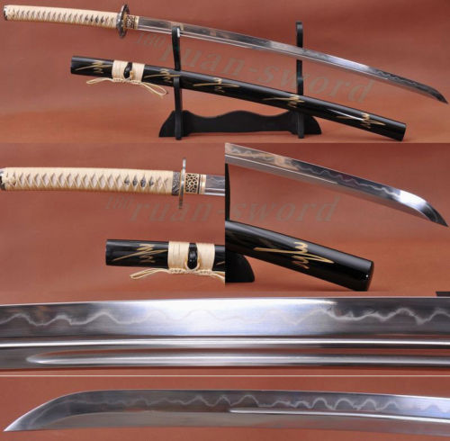 "41 ""FOLDED STEEL CLAY TEMPERED SHARP JAPANESE SWORD KATANA UNOKUBI-ZUKURI BLADE"