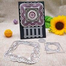 Flower Square Frame  Metal Cutting Dies for DIY Scrapbooking Card Stencil Craft Decoration Handicraft 10*10CM