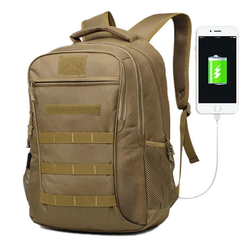 Ransel Taktis 35L Militer Outdoor Eksternal USB Muti-fungsi Mendaki Dpt Dipakai Olahraga Tas Tahan Air Tentara Ransel Perjalanan