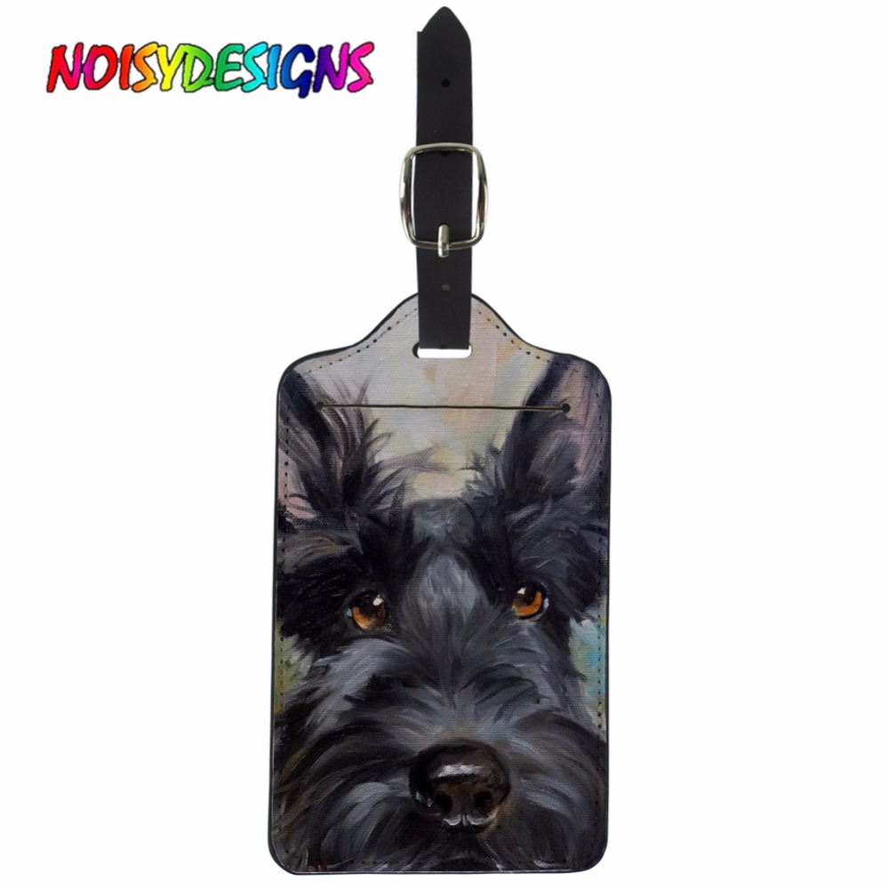 NOISYDESIGNS Creative Luggage Tag Animal Scottie Dogs Suitcase ID Addres Holder Baggage Painting Boarding Tags Portable Label