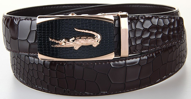 Новое поступление мужской ремень из натуральной кожи повседневный кожаный ремень мужской роскошный фирменный дизайн ремни из воловьей кожи с крокодиловой пряжкой черный ремень