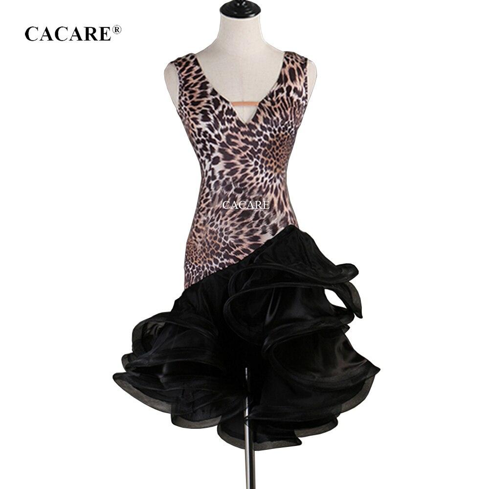 2019 Latin Dance Dress Women Latina Salsa Latin Dance Competition Dresses CHEAP D0310 Leopard Print Fluffy Sheer Hem