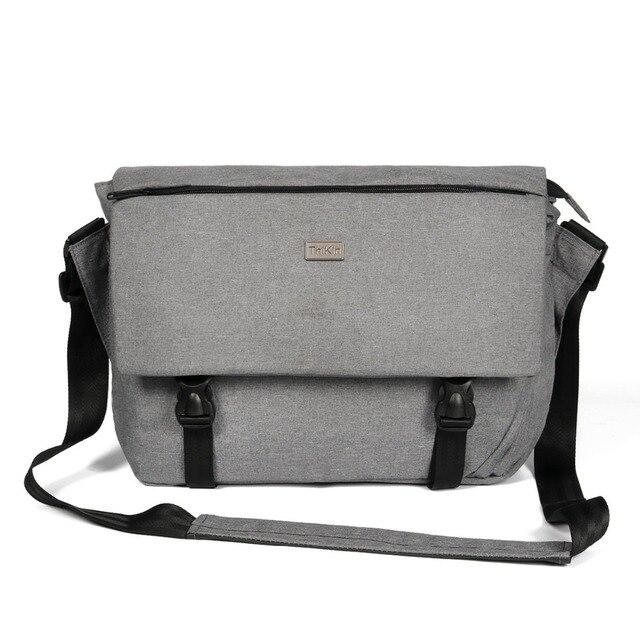 High Quality Men's Grey 14Inch Laptop Shoulder Bag Vintage Women Ipad Messenger Bag Travel Korean Style Cross Body Bag