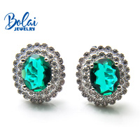 Bolai nano emerald halo stud earrings solid 925 sterling silver gemstone fine jewelry ear studs for women wedding bridesmaid
