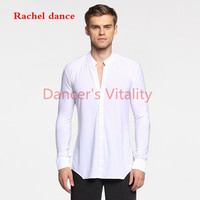 Long Sleeve Button Mens Latin Shirts Dance Top Ballroom Dancewear Latin Dance Costumes Stage Clothing For Men Ballroom Clothes