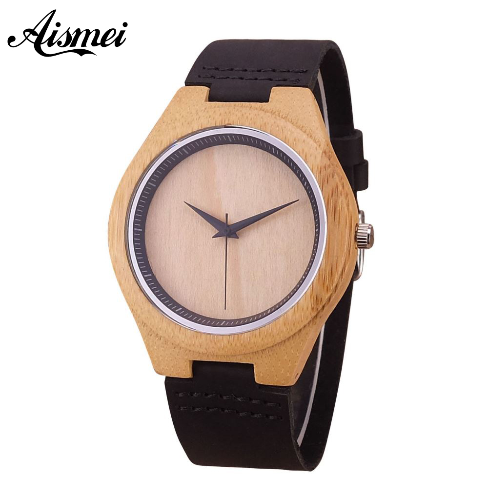 2018 Simple Wood Watch Men's Minimalist Design WristWatch Bamboo Wooden leather band Watch Male Gift Montre Homme Dropshipping simple casual wooden watch natural bamboo handmade wristwatch genuine leather band strap quartz watch men women gift