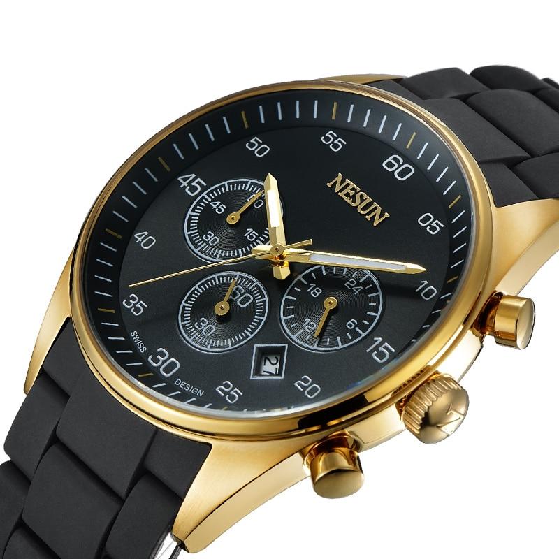 все цены на New Nesun Men Watches Top Brand Luxury MIYOTA movement Quartz Watch Men Chronograph Wrist clock Waterproof reloj hombre N8701-2 онлайн