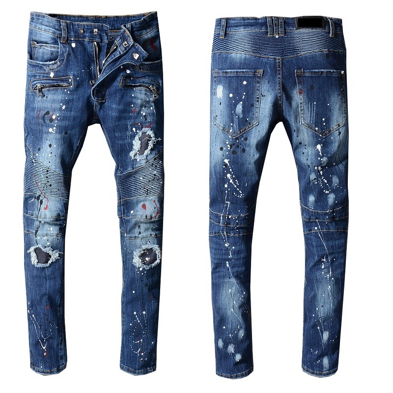 Men's Distressed Ripped Blue Biker Jeans Zip Fly